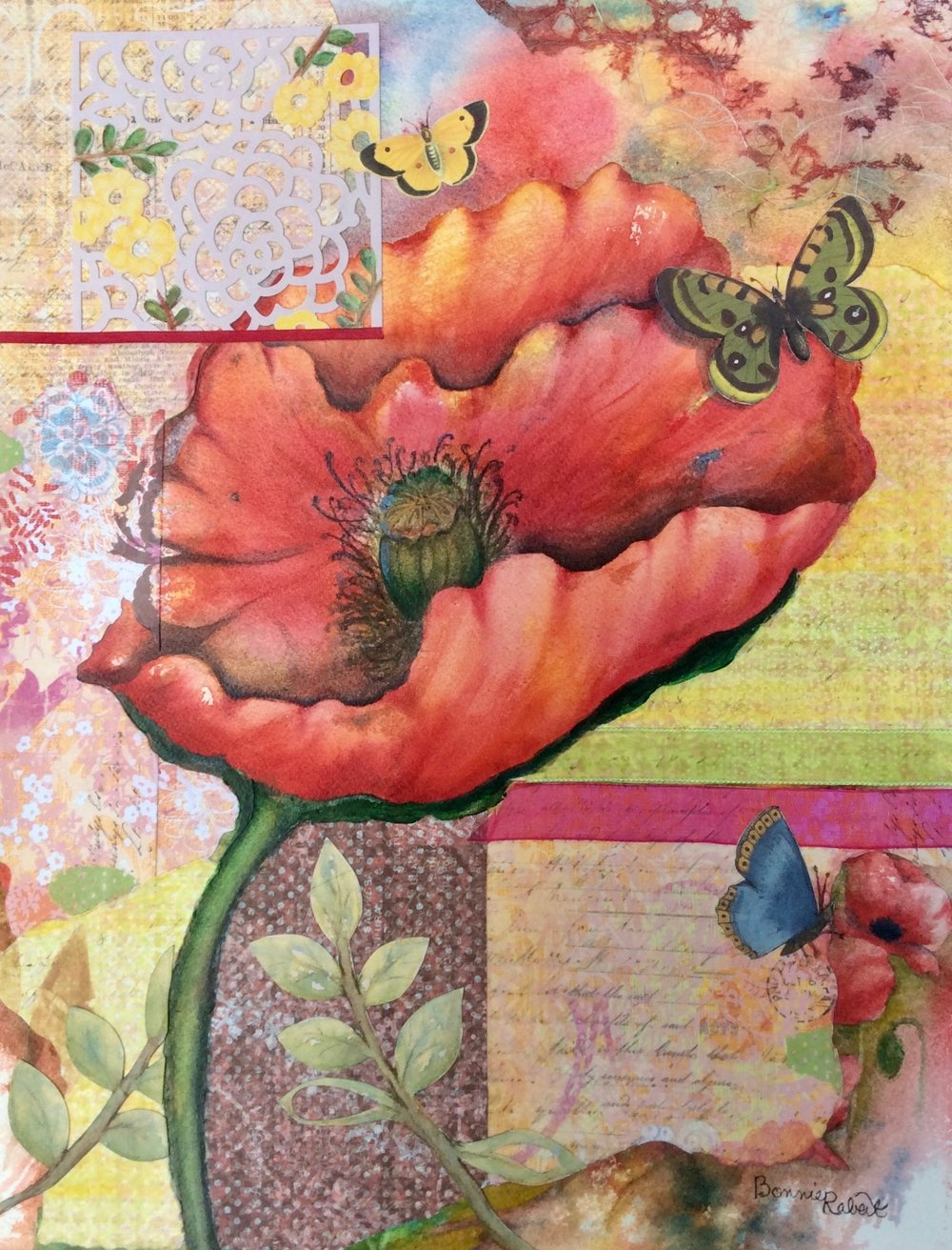 Quilted Poppy Mixed Media