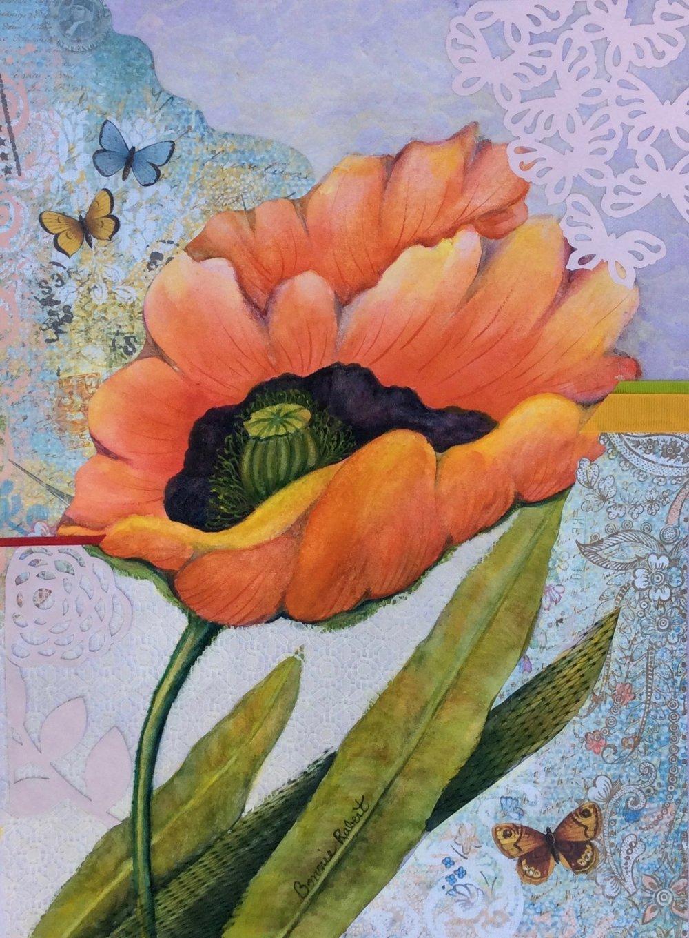 Lacy Poppy mixed media