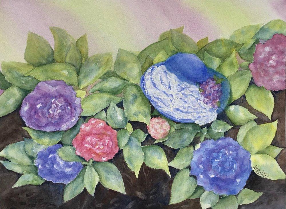 Royal Hydrangeas Watercolor