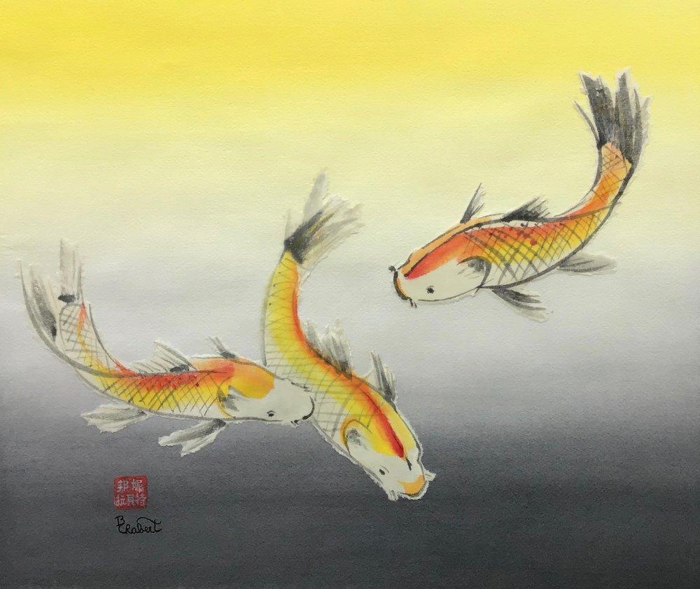 Three Koi, a mixed media piece