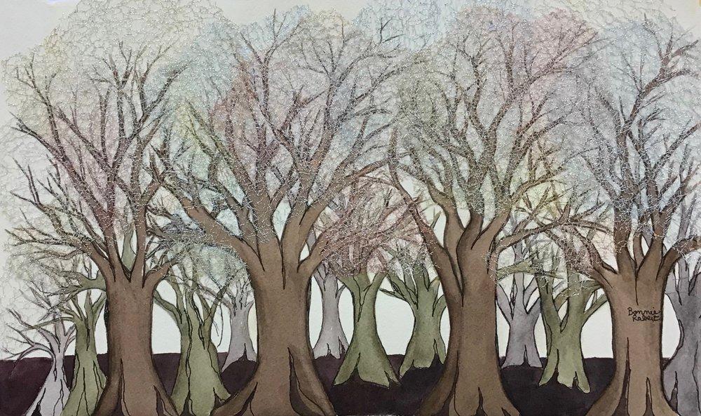 Cotillion Trees, a mixed media piece