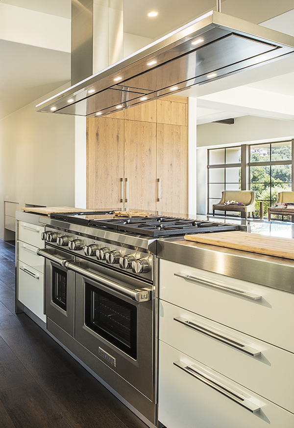All The Cabinets Have Brushed Stainless Steel Counter Tops, Corner Bumpers,  Backsplashes And Kick Plates. A Dark Brown Plank Floor From Reed Provides A  ...