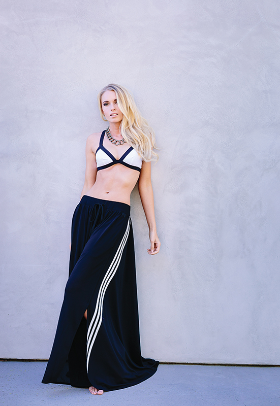 Rip Curl Mirage Color Block bikini top, Bikini Factory. Y3 wide-leg pants, Antoinette. Oxidized silver with brilliant cut white diamond necklace, ARA Collection.