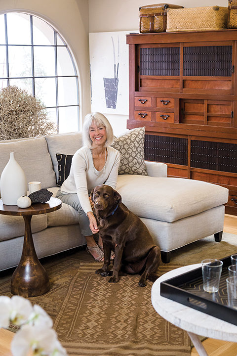 "Visit Genny, Tom (not pictured) and their loyal ""assistant"", Chili, in their downtown Santa Barbara showroom."