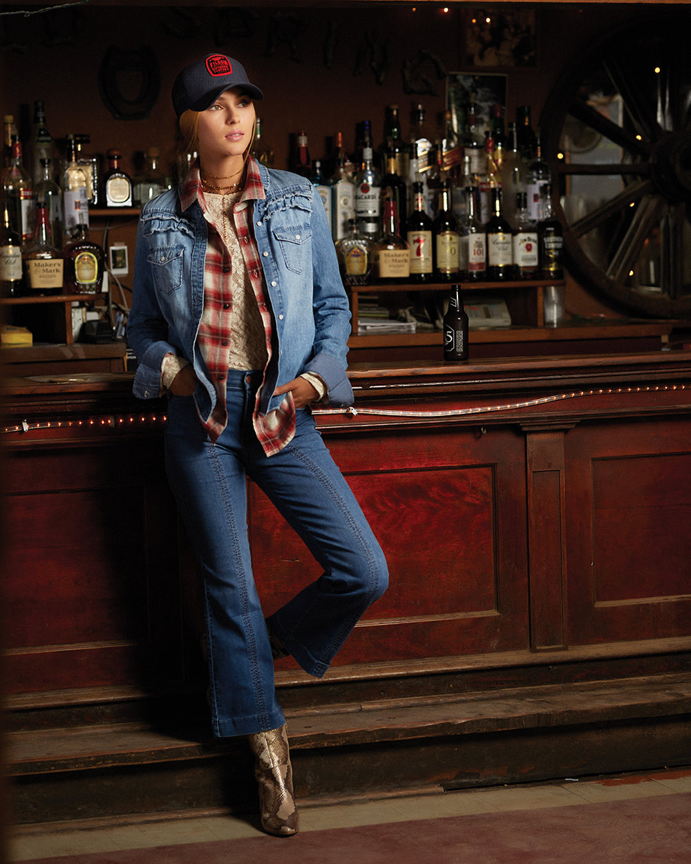 Denim shirt and boots, AMBIANCE. Lace top, WILDFLOWER WOMEN. Plaid shirt and hat, ACE RIVINGTON. Jeans and earrings, LOVEBIRD.Necklaces, ROWAN.
