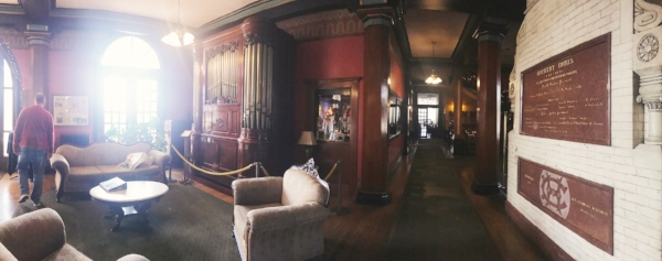 Another view of the lobby from the backside of the fireplace.