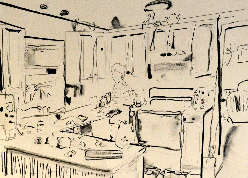 360 Cambridge Drive: Mom in the Kitchen. Graphite, charcoal, and ink on paper. 2017.