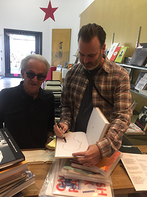 LA Photographer Gusmano Cesaretti gets Artist Ed Templeton signing.