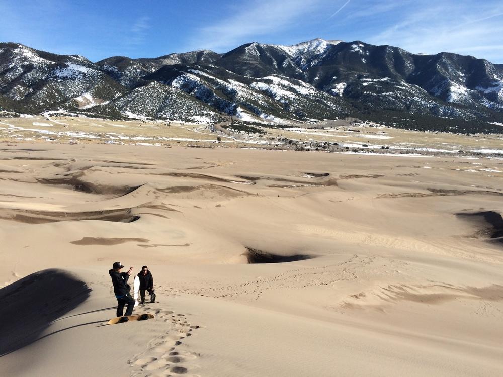 Climbing the dunes!