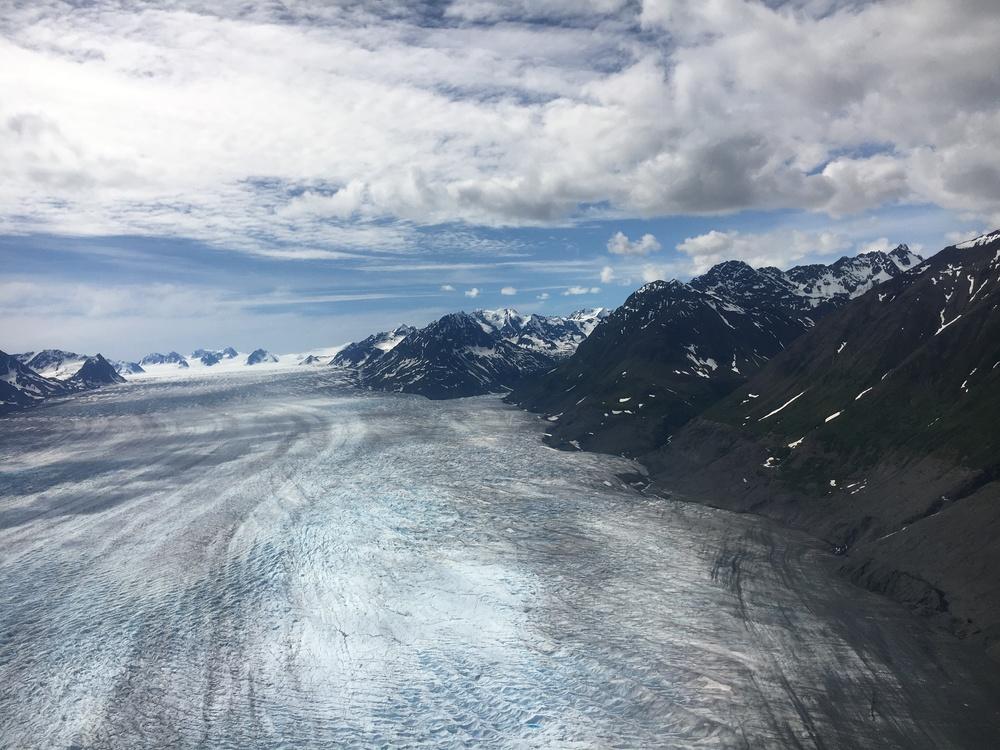 Flying over tanzlina glacier