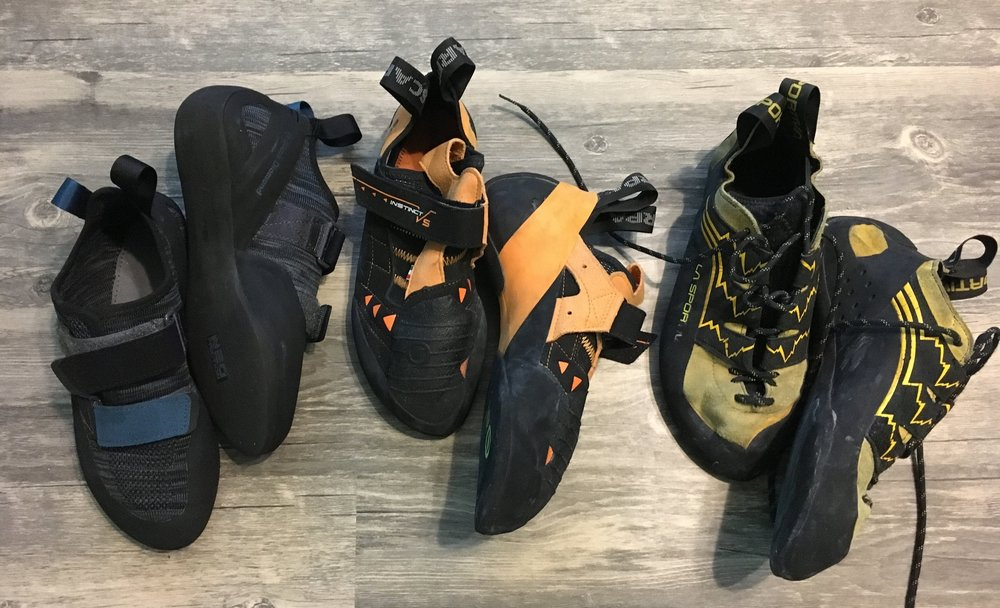 My Current Line up: The Black Diamond Momentum (Left), Scarpa Instinct VS (Middle), La Sportiva Katana Lace (Right)