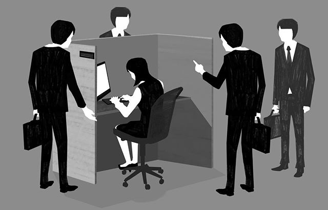 A Japanese OL (office lady) tells us about workplace harrassment in her former job . . . . . illustration and motion graphics by @jano_ivan  #salaryman #salarymanfilm #indie #independent #womeninfilm #office #blackandwhite #animation