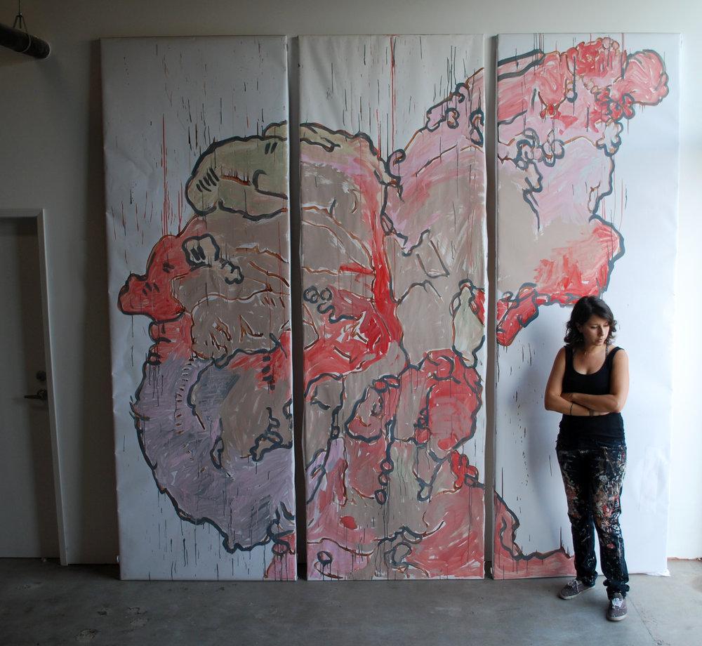 Stephanie Sherwood with her  Cornucopia piece.