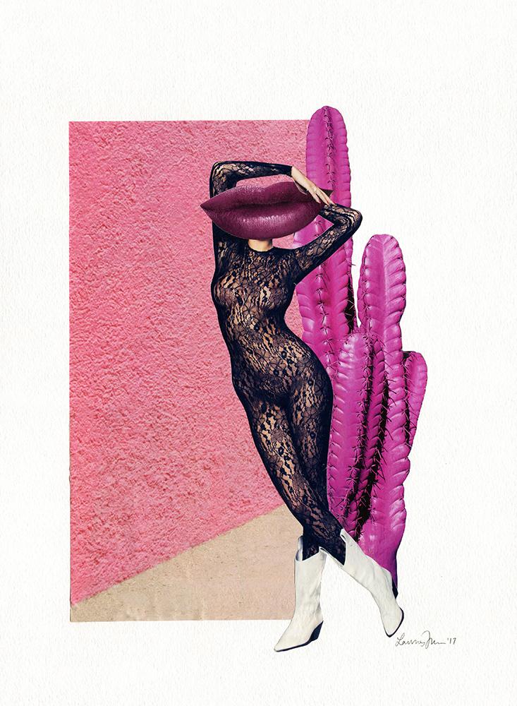 "Untitled Collage (Wild Wild Pink West), 2017, collage on paper, 11""x15"""