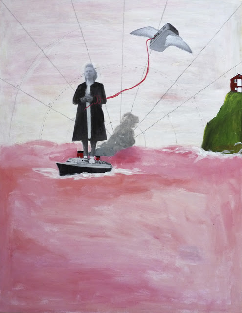 Sandra PARIS , Le paquebot (the boat) , 2017, acrylic and collage on canvas, 50 x 65 cm.