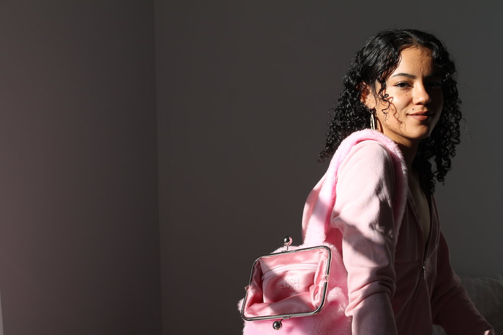 Pictured: PINK BUNNY. Photo by Malaika Astorga. Model: Sahara Baldwin
