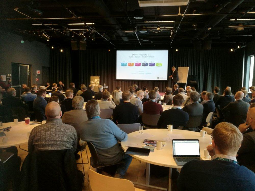 Fra innspillskonferansen i Fredrikstad våren 2018. Foto: Smarte Byer Norge