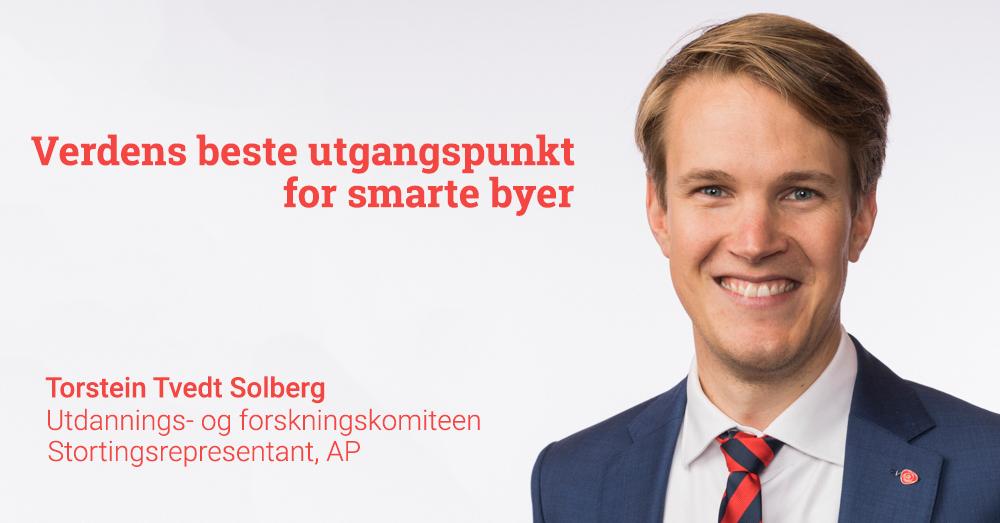Torstein Tvedt Solberg skal delta på smartbydugnaden til Smarte Byer Norge i april. Foto: Stortinget