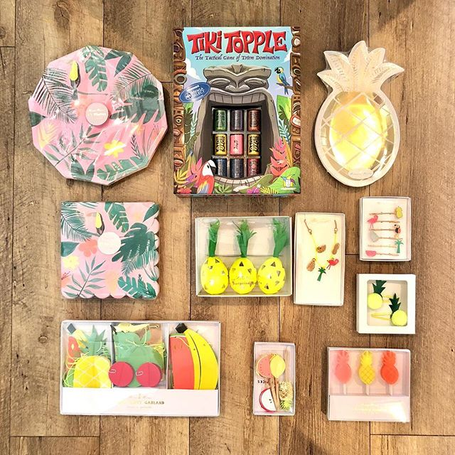 🌺It's Tiki Time!🗿 Let's get tropical with these great accessories & party supplies for your Summer celebration! We have everything you need, including our new party game, Tiki Topple. All that's needed is to add your fruity umbrella cocktail to the mix and it's a party! These fabulously fun items, and flamingo helium balloons, are in stock now so come on in and play!  Little Pnuts Toy Shoppec 209 Harrison Ave • Lakeview 504.267.5083  #PlayMatters #LearningThroughPlay #HappyLearning #JustPlay #ImagineCreatePlay #MeriMeri #Gamewright #TikiTopple #Flamingos #TropicalFruit #CocktailUmbrellas #FruitCocktailStirrers #PineappleHairClips  #PineapplePlates #TropicalPatterns #Jewelry #PineappleSurpriseBalls #PartyCandles #BirthdayGifts #PartySupplies #Toys #Games #Books #STEM #CreativeActivities #CraftKits #PartyGames #TravelBoxes #CustomPlayBoxes #Balloons