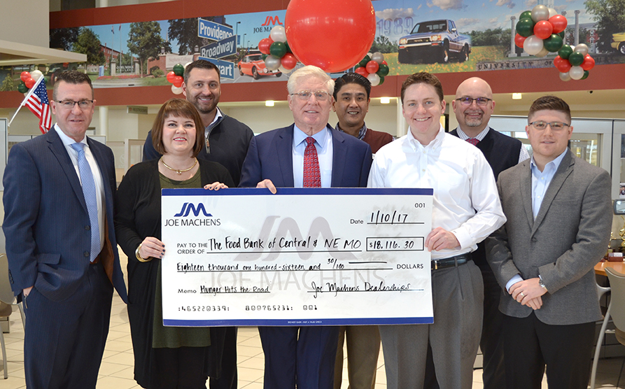 Joe Machens Dealerships And Columbia Honda Donated $18,116.30 And 1,865  Pounds Of Food To The Food Bank For Central U0026 Northeast Missouri This  Morning.
