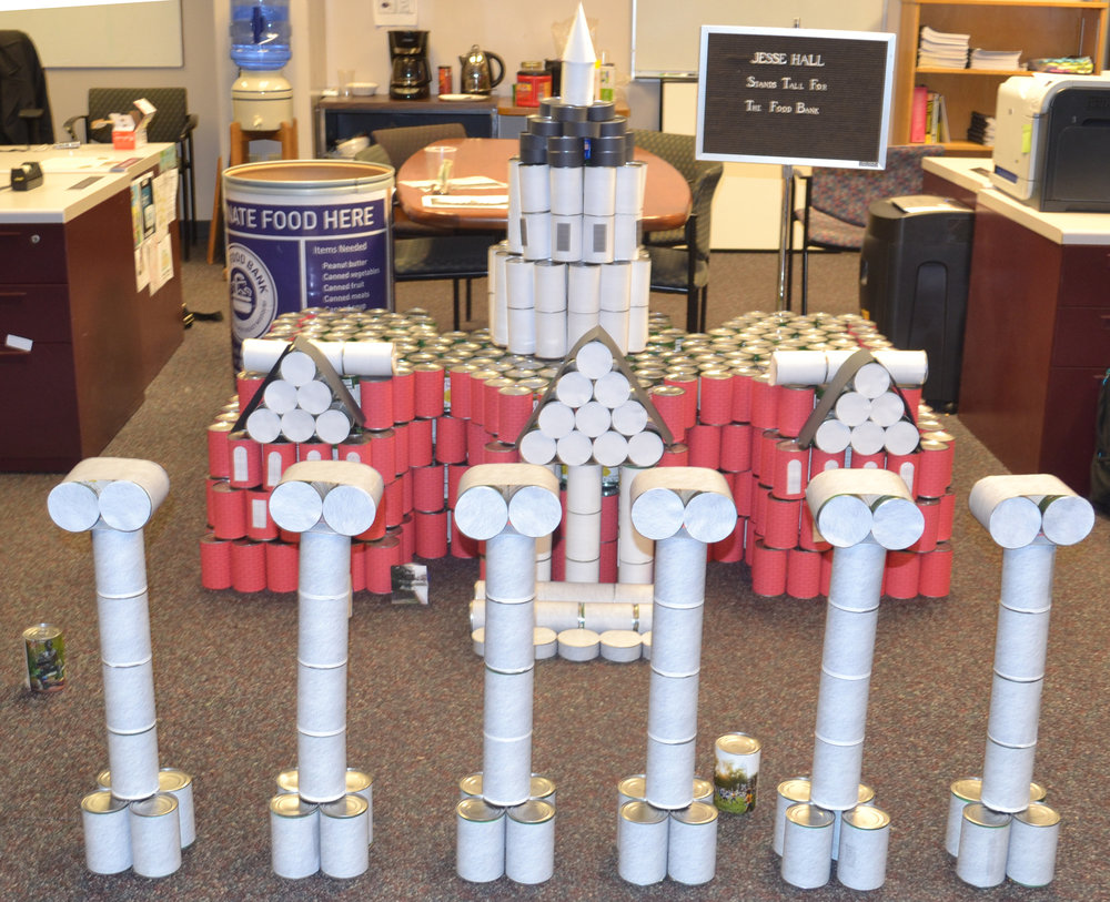 news the food bank for central northeast missouri the design winning jesse hall replica was detail oriented cans of food wrapped in red paper decorated like bricks and marble esque columns that made