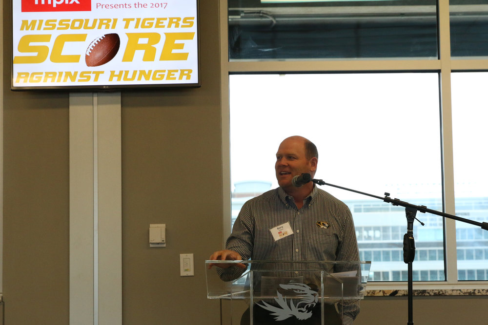 Missouri Tigers Head Football Coach Barry Odom address supporters at the Score Against Hunger Victory Luncheon at Memorial Stadium.