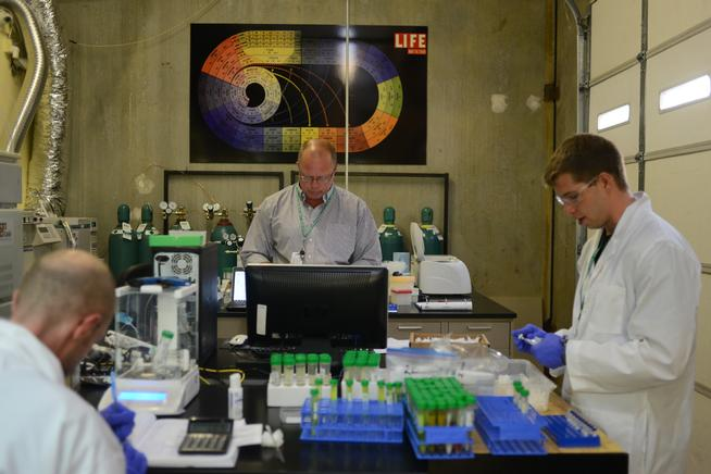 Peter Perrone, center, is the lab director at Gobi Analytical, the only lab in Denver that tests marijuana for pesticides. (Denver Post file)