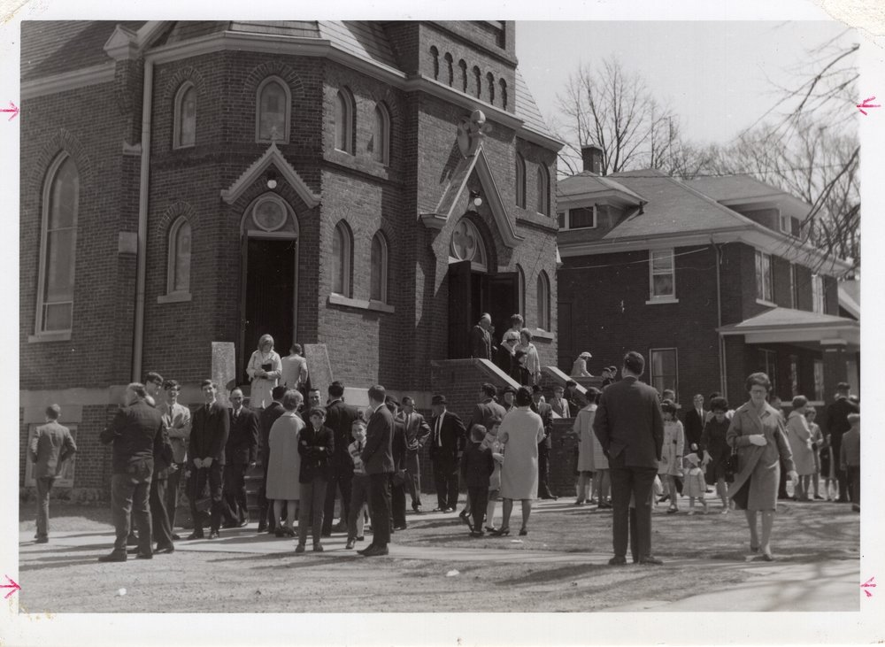 St. Paul members after worship, sometime prior to the church addition of 1974