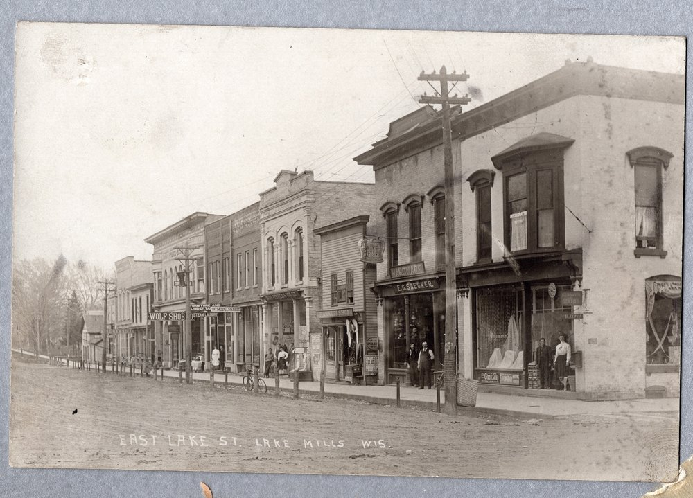 East Lake Street in downtown Lake Mills, circa 1890