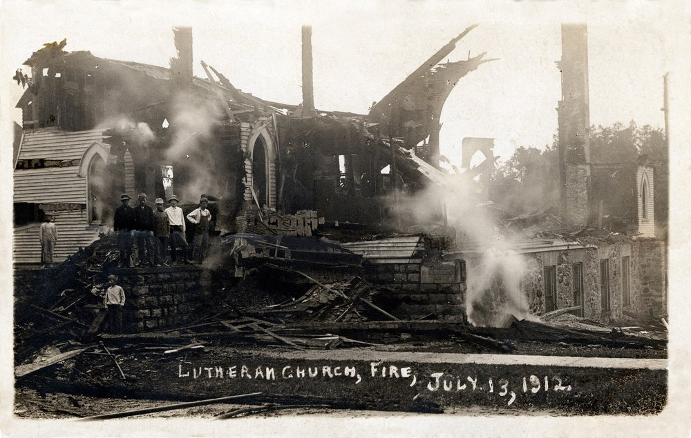 A lightning strike started a fire which completely destroyed the church building on July 13, 1912