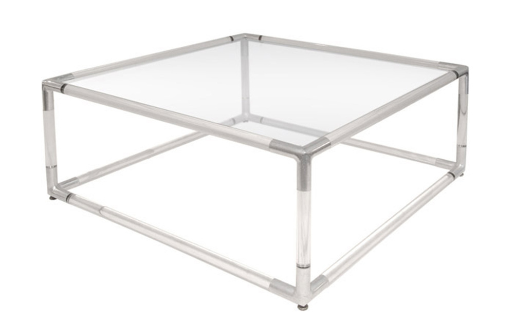Lucite Coffee Table with Base with Chrome Corners and Glass Top