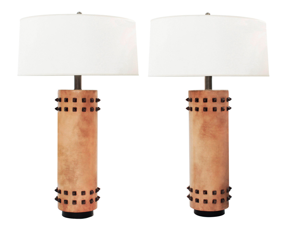 French 100 40s leather studded tablelamps323 hires jpg