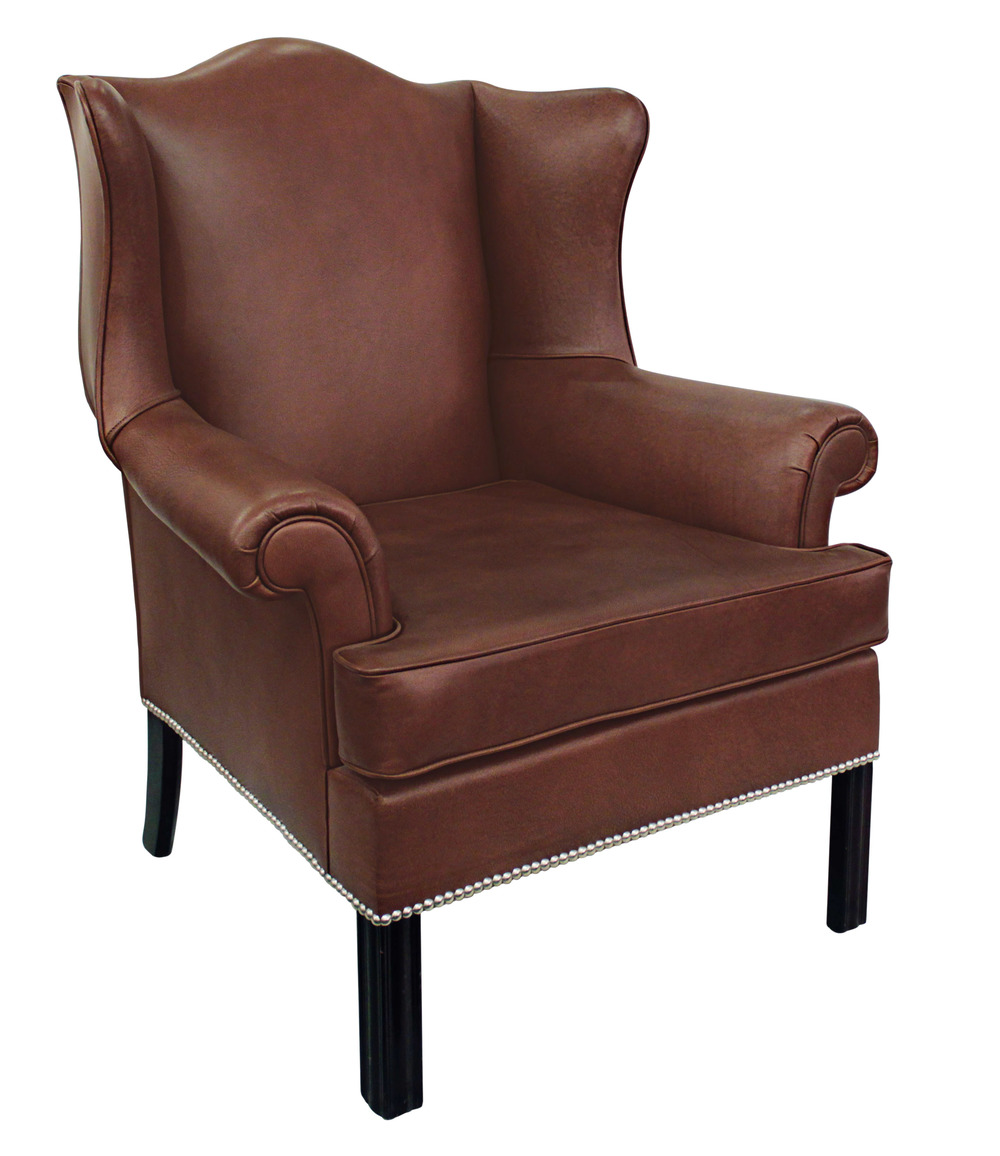edward wormley small scale leather wing chair for dunbar 1930s