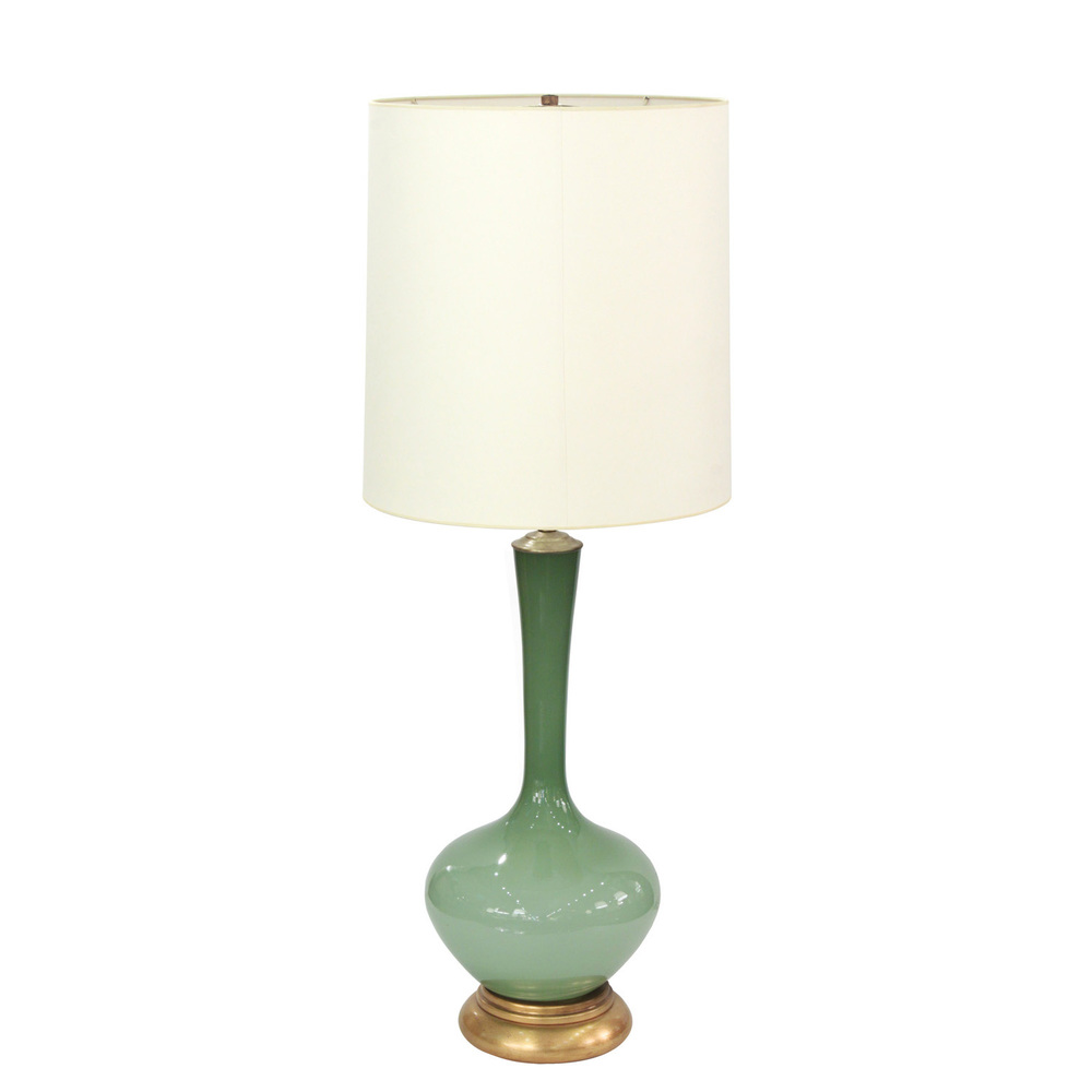 Large swedish handblown green glass table lamp 1960s lobel modern nyc mozeypictures Gallery