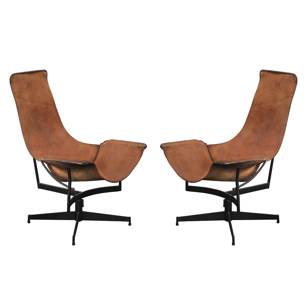pair of swivelling leather sling chairs by william katavolos sold u2014 lobel modern nyc
