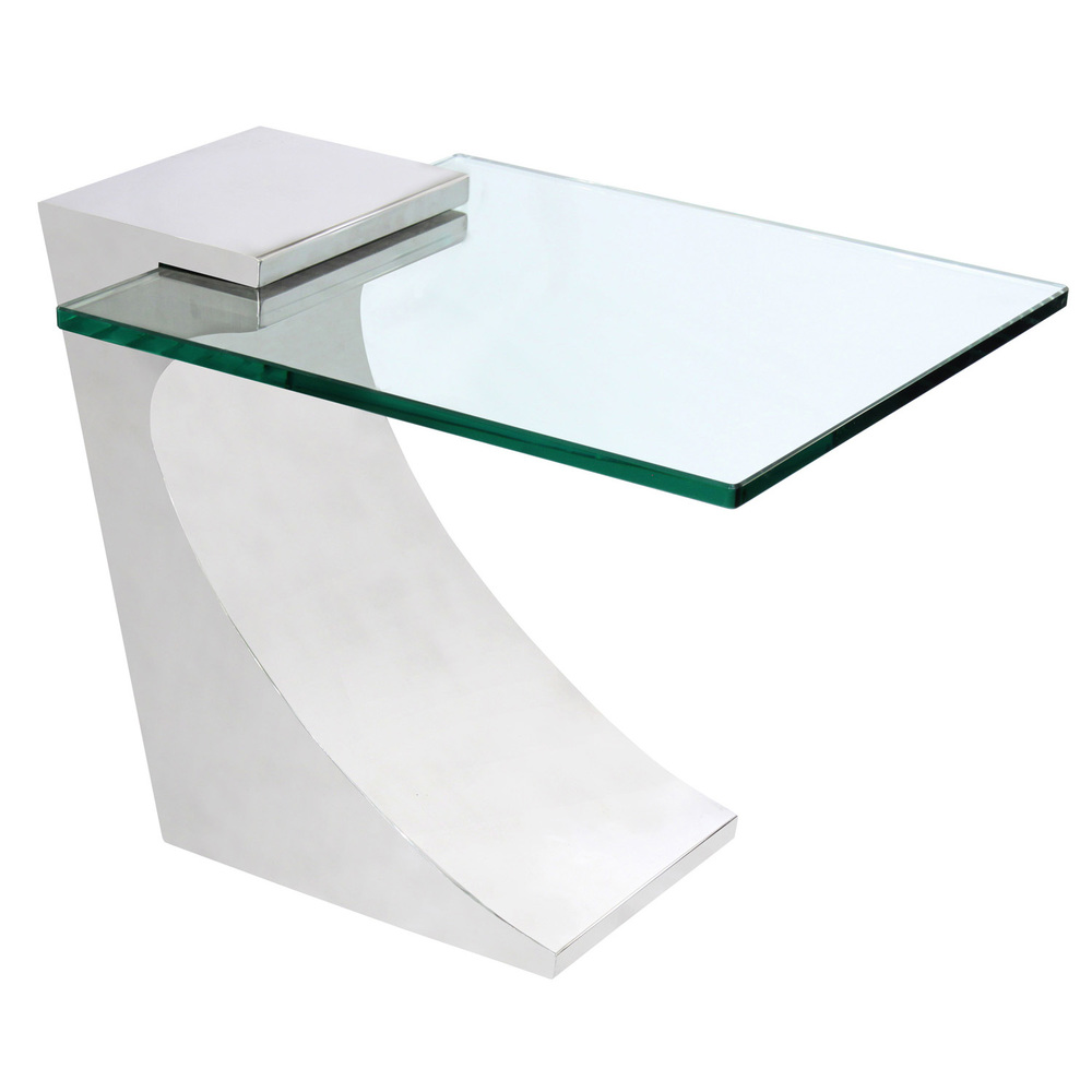 Delicieux Chic Cantilevered Side Table In Polished Stainless Steel 1970s U2014 Lobel  Modern NYC