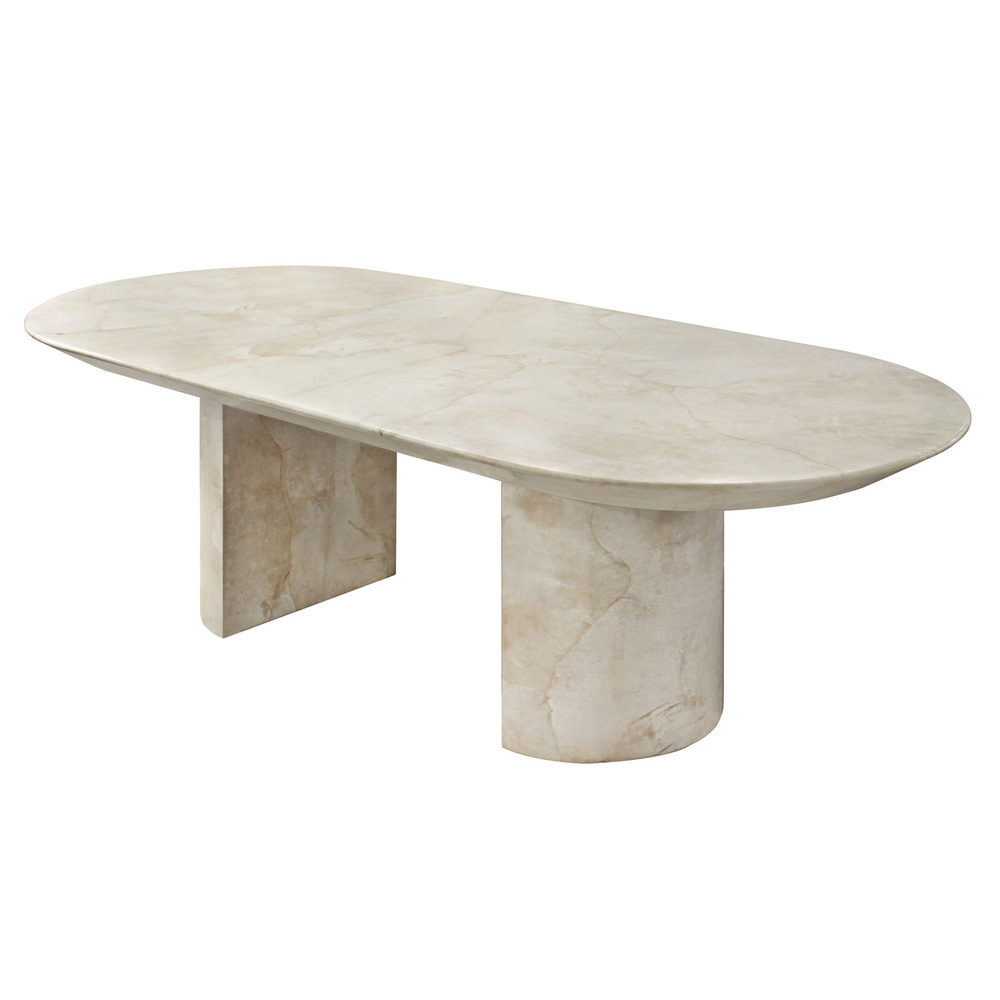 Knife Edge Dining Table In Bleached Goatskin By Karl Springer - Bleached wood dining table