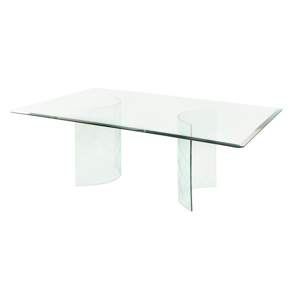 glass dining table with curved etches bases u2014 lobel modern nyc