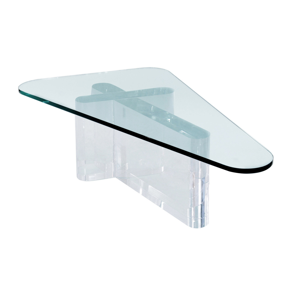 Sculptural Thick Lucite Coffee Table With Glass Top By Lion In Frost 1970s Lobel Modern NYC