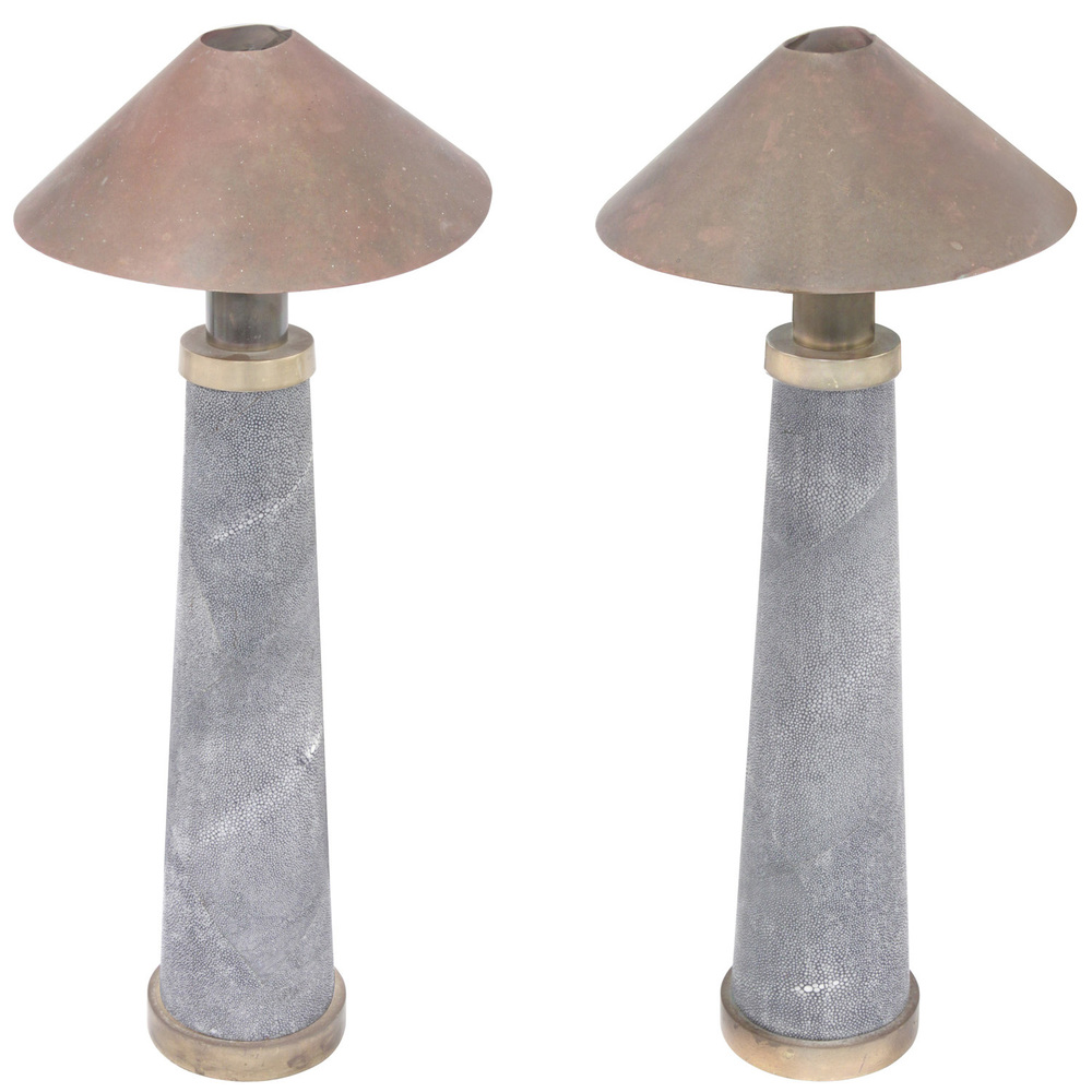 Pair of rare lighthouse table lamps clad in shagreen by karl pair of rare lighthouse table lamps clad in shagreen by karl springer sold lobel modern nyc aloadofball Choice Image