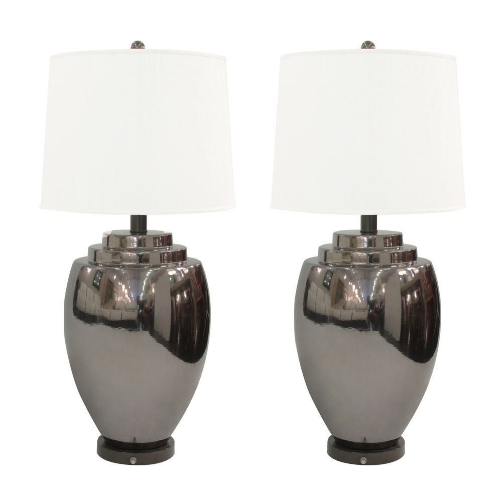 Modern ceramic table lamps - Pair Of Ceramic Table Lamps With Gunmetal Glaze American 1970 S