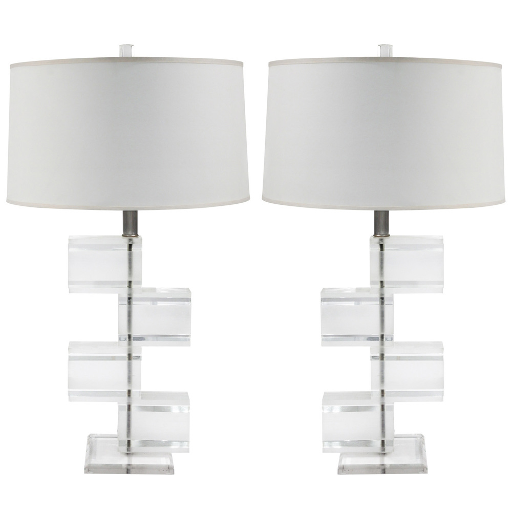 Pair of chic lucite block table lamps sold lobel modern nyc aloadofball
