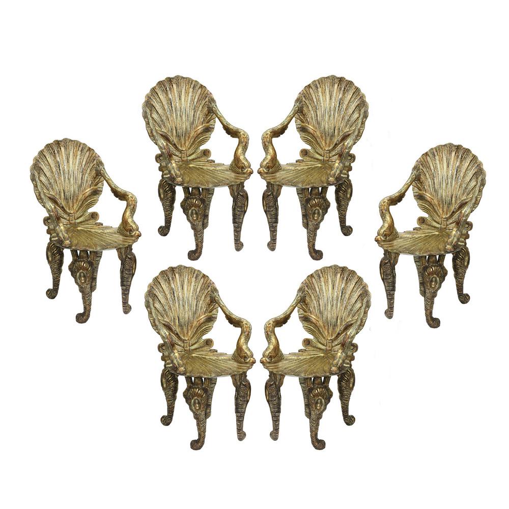David Barrett Set Of 6 Extraordinary Gilded Grotto Chairs 1970s U2014 Lobel  Modern NYC