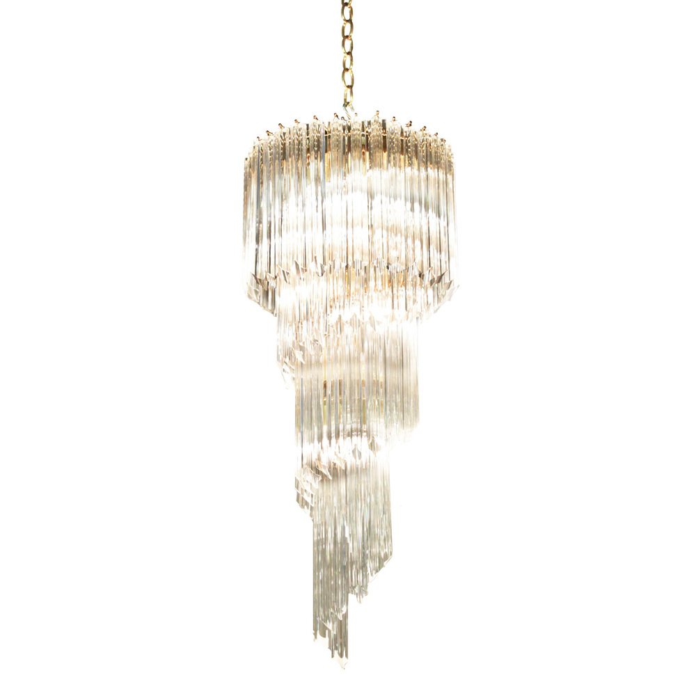 Murano Spiral Chandelier: Spiral Chandelier With Solid Glass Rods Murano 1960s