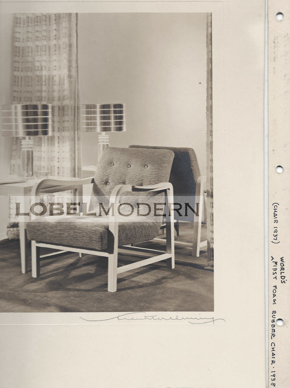"Photo from Wormley Archive at Lobel Modern. This photo is inscribed ""World's first foam rubber chair - 1938"""