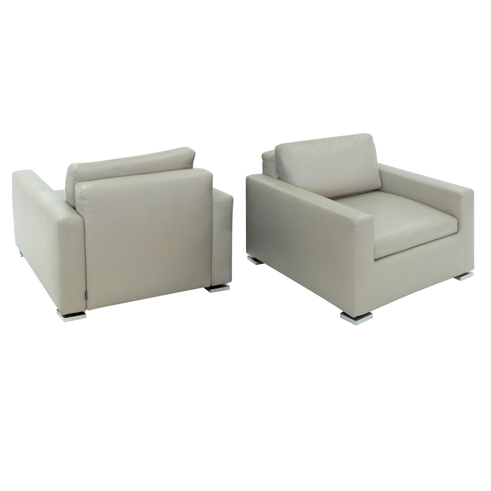 Pair Of Clean Line Leather Lounge Chairs By Minotti   SOLD U2014 Lobel Modern  NYC
