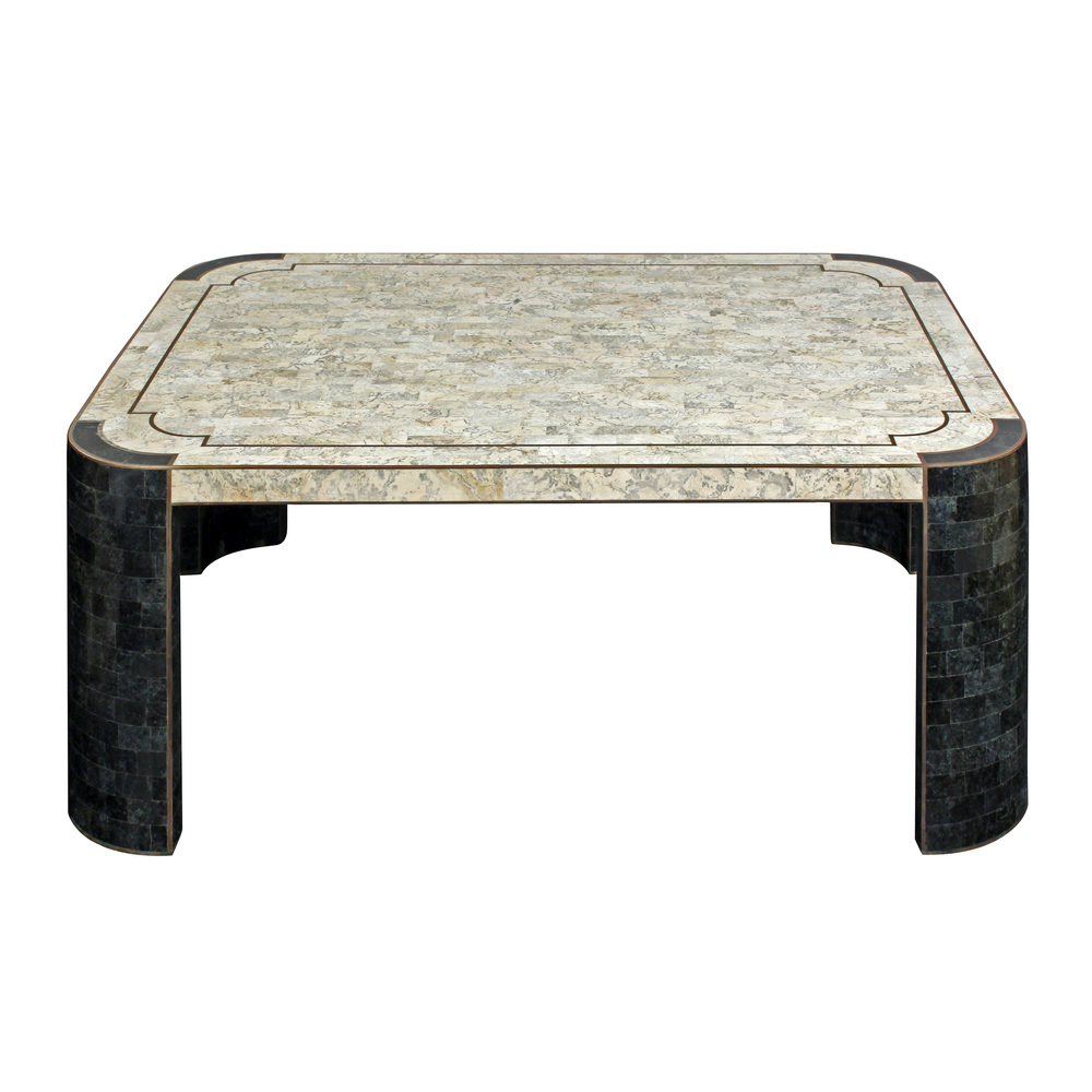 Coffee Table In Tessellated Light And Dark Stone With Brass Inlays By Maitland  Smith, American 1970u0027s