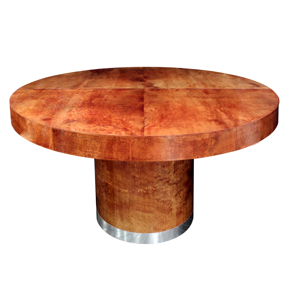 Ron Seff Round Lacquered Goatskin Dining Table With Leaves S - Round dining table with 2 leaves