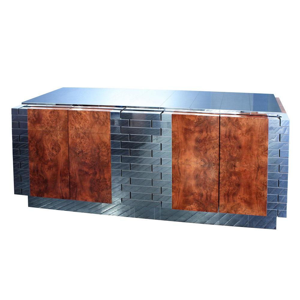 Paul Evans Burl Wood Tessellated Chrome Credenza 1970s Sold Dilznoofus39s Tessellation Book 250 4 Dr Credenza56 Hires Main