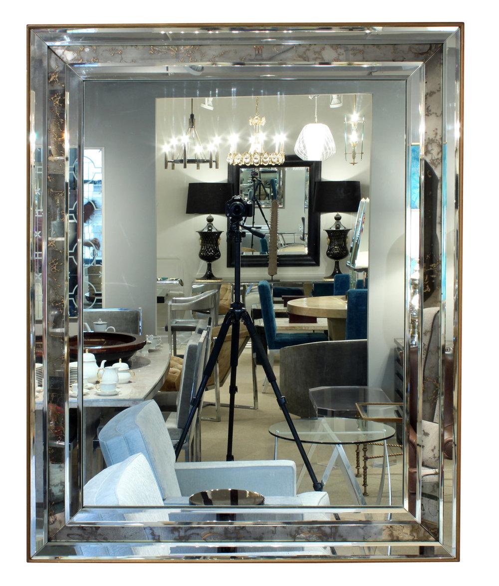 Stunning Large Antiqued Edge Beveled Mirror Sold Lobel Modern Nyc